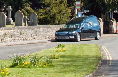 hearse outside church